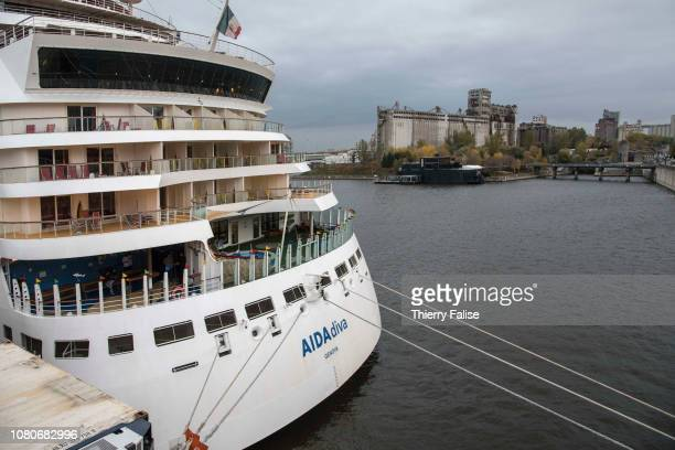 The AIDAdiva a cruise ship operated by the German cruise line AIDA Cruises and registered in Genoa Italy with a gross tonnage of 69203 and a lenght...