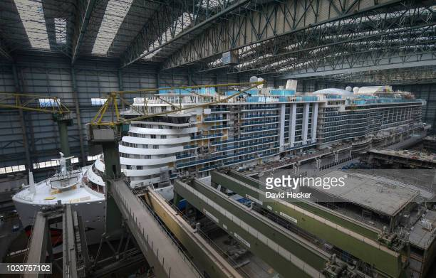 The 'AIDAnova' cruise ship in the Meyer Werft shipyards on August 21 2018 in Papenburg Germany The newlycompleted 184000tonne ship which is 337...
