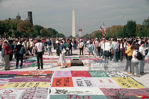 The AIDS Memorial Quilt is shown for the first time on the Mall in Washington DC