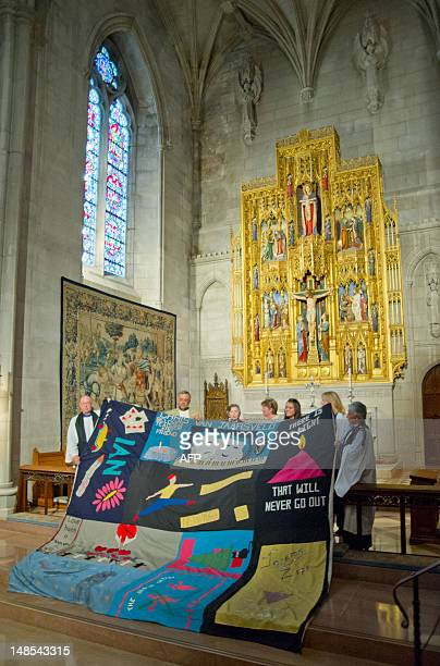 The AIDS Memorial Quilt's St George panel which was created by St George's Cathedral in Cape Town South Africa and blessed by Archbishop Desmond Tutu...