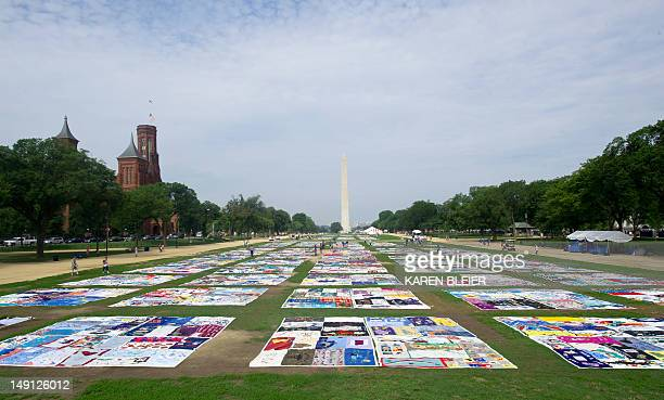 The AIDS Quilt is laid out on the National Mall July 23 2012 as part of the 19th International AIDS Conference in Washington DC The conference is...