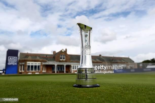 The AIG Women's Open trophy is seen ahead of the AIG Women's Open 2020 at Royal Troon on August 18 2020 in Troon Scotland