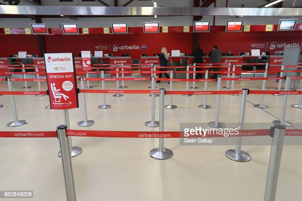 The Air Berlin checkin hall stands empty during a strike by ground personnel at Tegel Airport on March 13 2017 in Berlin Germany The strike is...