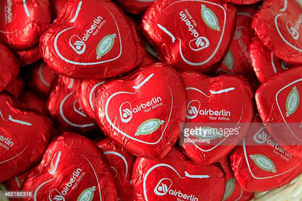 The Air Berlin logo sits on heartshaped chocolates during the Air Berlin Plc news conference in Berlin Germany on Tuesday March 3 2015 Air Berlin...
