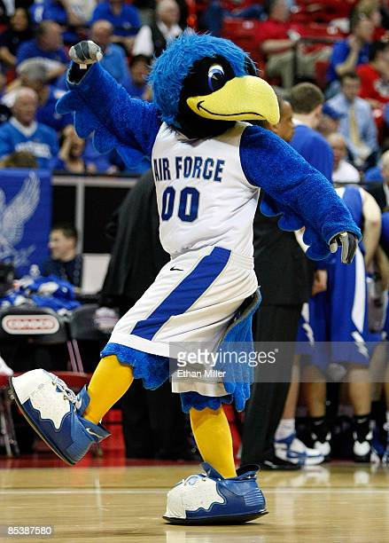The Air Force Falcons mascot The Bird dances during a game against the Colorado State Rams during the first round of the Conoco Mountain West...