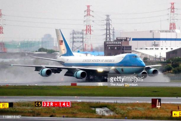 The Air Force One carrying U.S. President Donald Trump lands at Osaka International Airport ahead of the G20 summit on June 27, 2019 in Toyonaka,...