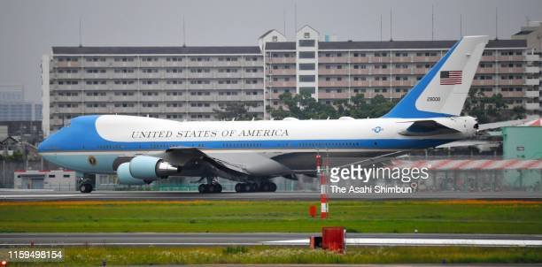 The Air Force One carrying U.S. President Donald Trump takes off after the second day of the G20 summit at Osaka International Airport on June 29,...