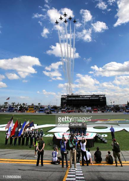 The Air Force Thunderbirds make a flyover at the Daytona 500 at Daytona International Speedway Sunday February 17 2019
