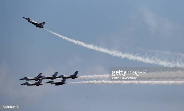 The Air Force Thunderbirds perform a flyover prior to the 59th Annual DAYTONA 500 at Daytona International Speedway on February 26 2017 in Daytona...