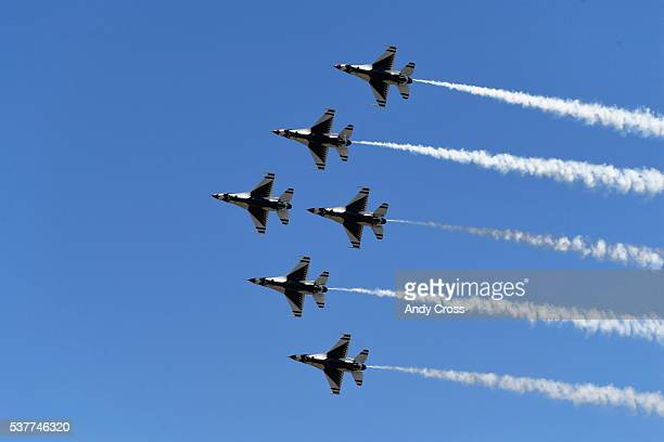 The Air Force Thunderbirds perform at the United States Air Force Academy's 58th graduation at Falcon Stadium June 02 2016