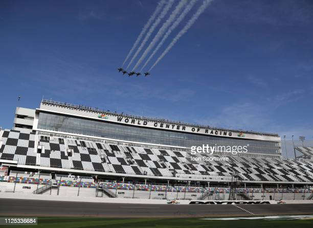The Air Force Thunderbirds practice their Flyover during qualifying for the NASCAR Racing Experience 300 on February 16 2019 at Daytona International...