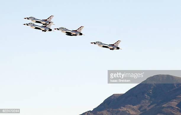 The Air Force Thunderbirds take off in formation prior to the unveiling of Madame Tussauds allAmerican hero Captain America at Nellis Air Force Base...