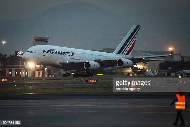 The Air France Airbus A380 is seen arriving to the Mexico City International Airport 'Benito Juarez' in the first flight of this aircraft in America...