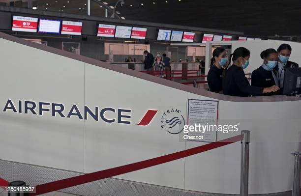 The Air France logo is seen at Paris Charles de Gaulle airport on June 18, 2020 in Roissy-en-France, France. The airline company Air France plans to...