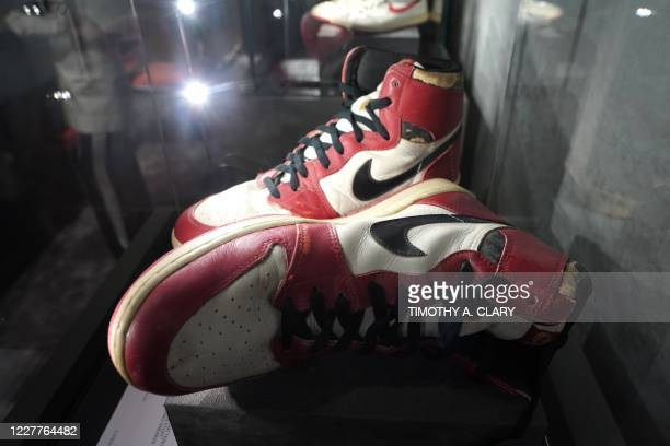 The Air Jordan 1 High Shattered Backboard Origin Story, Game-Worn Signed Sneaker Nike, 1985 Size 13.5 High-Top on display during a press preview July...