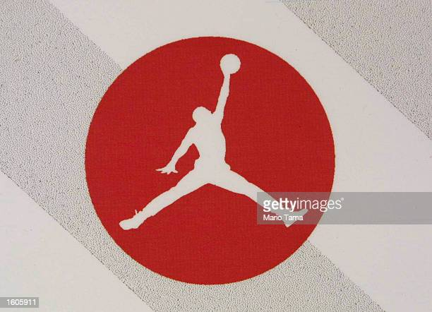 The Air Jordan logo is displayed at a Jordan promotional event July 31 2001 in Harlem New York City