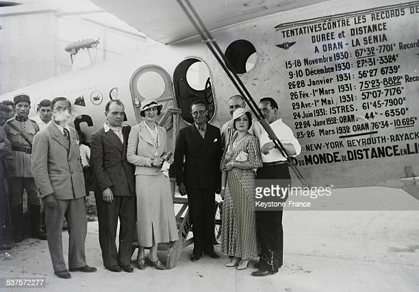 The Air Minister Pierre Cot poses in Marignane with aviators Paul Codos and Maurice Rossi and their wives in front of the prestigious 'Bleriot 110'...