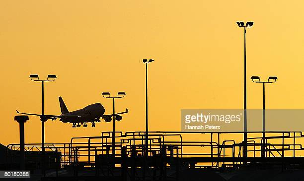 The Air New Zealand plane carrying Nai Yin Xue approaches the runway at Auckland Airport on March 10 2008 in Auckland New Zealand Nai Yin Xue flew to...