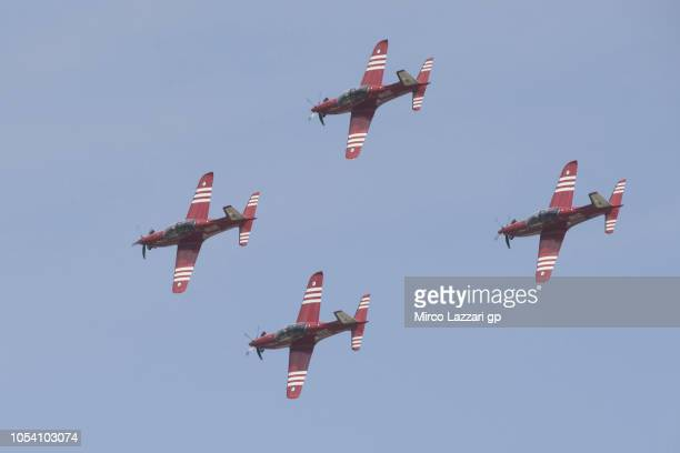 The air show during the MotoGP qualifying during qualifying for the 2018 MotoGP of Australia at Phillip Island Grand Prix Circuit on October 27 2018...