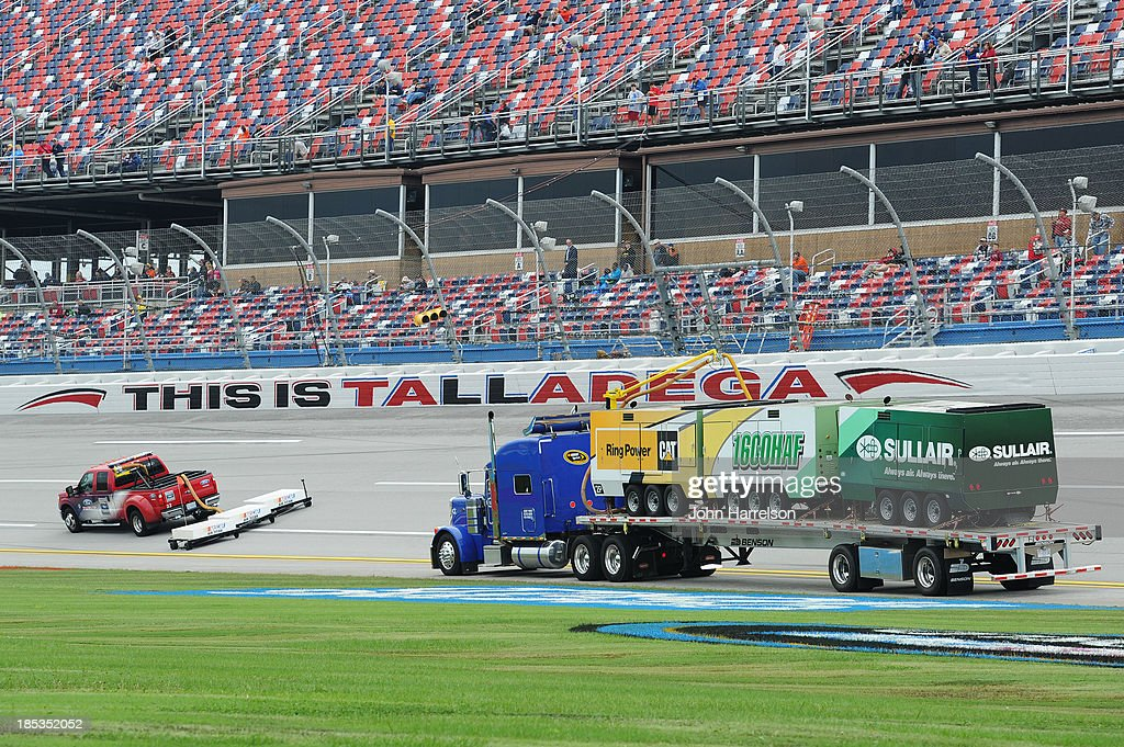 The Air Titan is used to dry the track after rain cancelled qualifying for the NASCAR Sprint Cup Series 45th Annual Camping World RV Sales 500 at Talladega Superspeedway on October 19, 2013 in Talladega, Alabama.