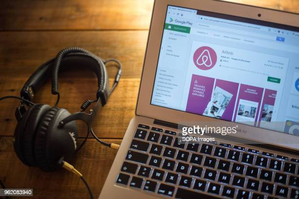 The Airbnb application seen displayed on a Apple MacBook Air computer monitor via the Google Play Store