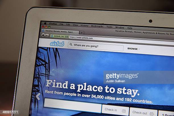 The Airbnb website is displayed on a laptop on April 21 2014 in San Anselmo California Online homerental marketplace Airbnb Inc is about to receive...