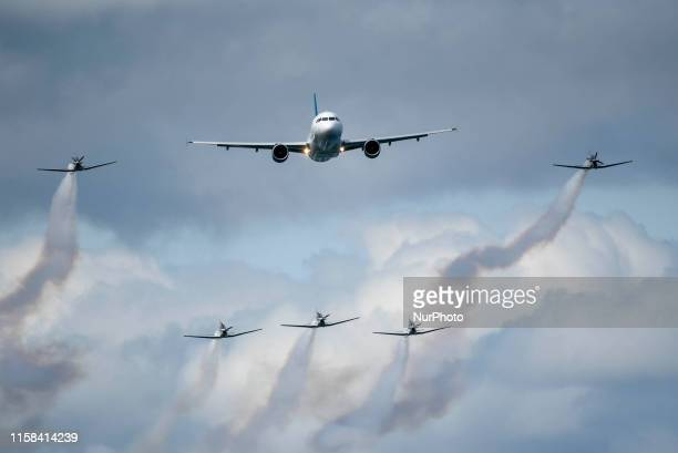The Airbus A320 with escort of The Irish Air Corps during the 2019 Bray Air Display in Bray Ireland on July 28 2019