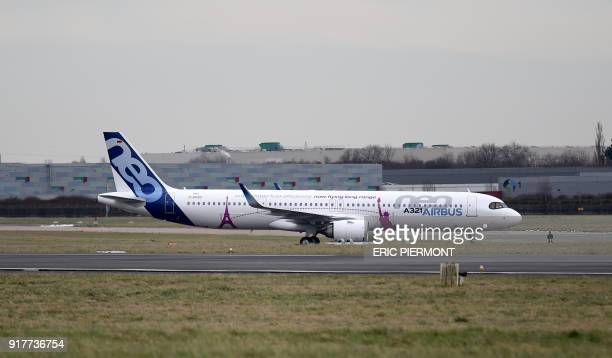 The Airbus A321 LR neo test plane lands at Le Bourget airport near Paris after takingoff from Paris Charles de Gaulle airport and prior to its first...