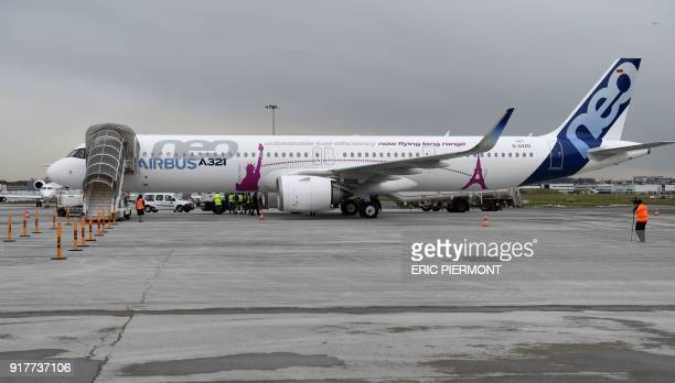 The Airbus A321 LR neo test plane stands on the tarmac after landing at Le Bourget airport near Paris after takingoff from Paris Charles de Gaulle...