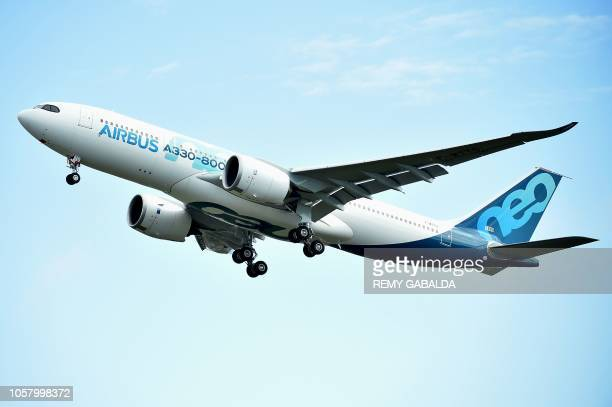 The Airbus A330800 aircraft takes off from Toulouse Blagnac airport near Colomiers on November 6 2018 during its first flight The A330800 one of two...