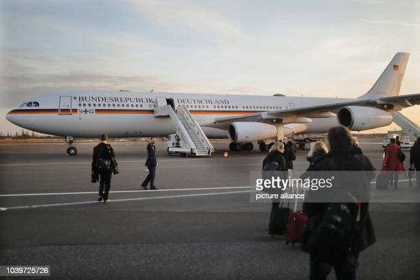 The Airbus A340 of the German Air Force standing prepared to take German Chancellor Angela Merkel to Washington at Tegel airport in Berlin Germany 16...