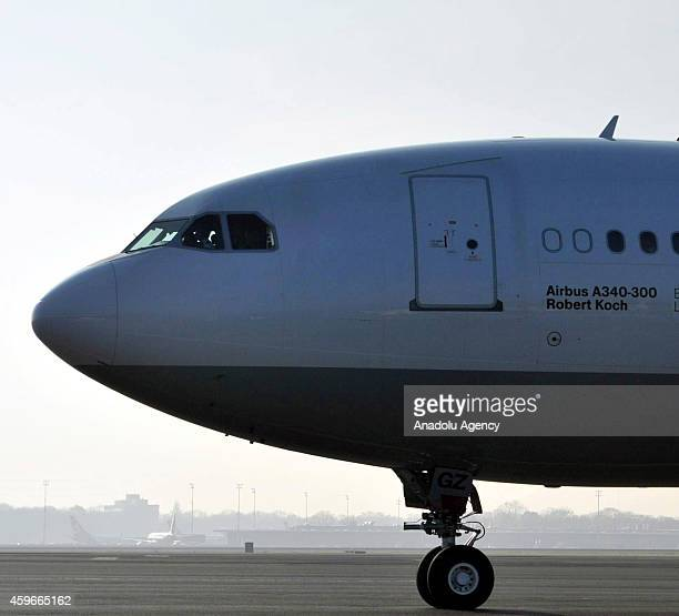 The Airbus A340300 plane called Robert Koch containing a special isolation cabin to be used to evacuate Ebola patients is seen at the military...