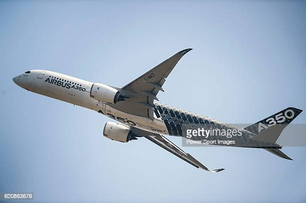 The Airbus A350 flies at the China International Aviation Aerospace Exhibition at China International Aviation Exhibition Center on November 2 2016...