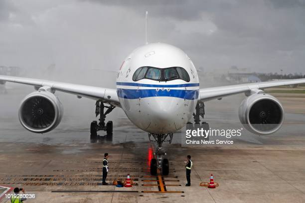The Airbus A350900 of Air China is seen after its maiden flight at Shanghai Hongqiao International Airport on August 14 2018 in Shanghai China The...