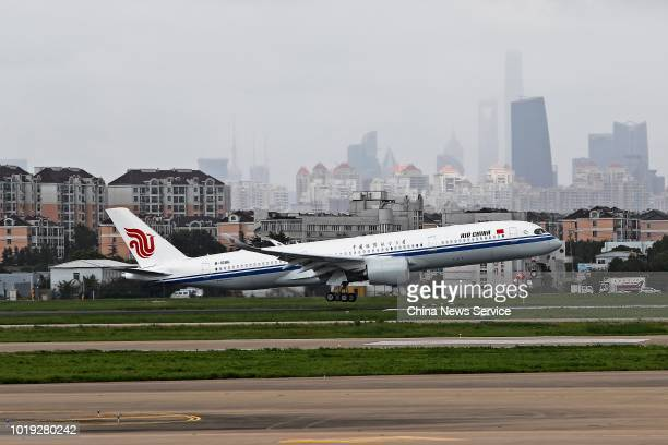 The Airbus A350900 of Air China lands at Shanghai Hongqiao International Airport on August 14 2018 in Shanghai China The Airbus A350900 of Air China...