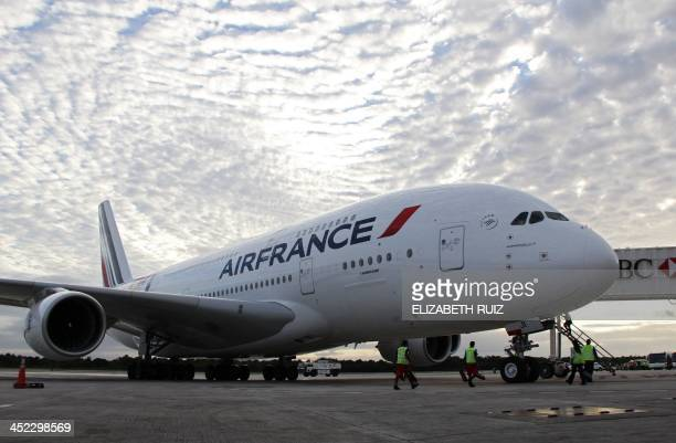 The Airbus A380 of AirFrance is seen after landing in Cancun Mexico on November 27 2013 The Airfrance Airbus A380 doubledeck widebody fourengine jet...