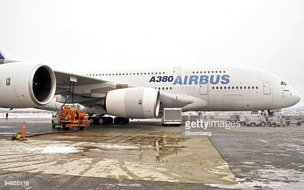 The Airbus A380 plane is serviced at Vancouver International Airport , British Columbia, Canada, Wednesday, November 29 following its first North...