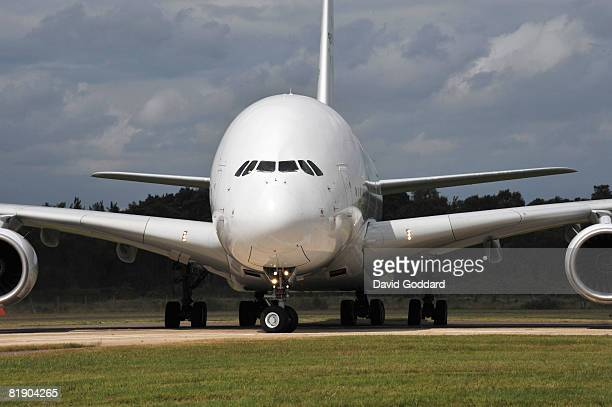 The Airbus A380 touches down at Farnborough Airport on July 11 2008 in Farnborough England The Airbus was arriving ahead of the International Airshow...