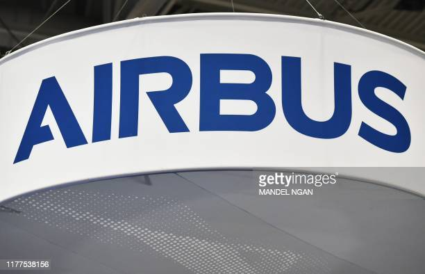The Airbus logo is seen at its stand during the the 70th annual International Astronautical Congress at the Walter E Washington Convention Center in...