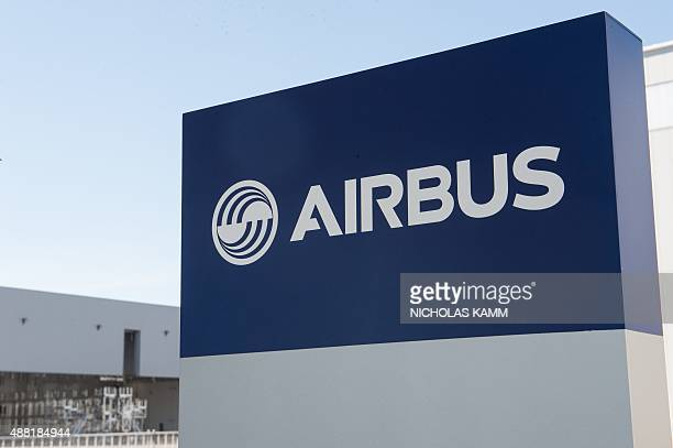The Airbus logo is seen on the eve of the inauguration of Airbus' first US manufacturing facility in Mobile, Alabama, on September 13, 2015. European...