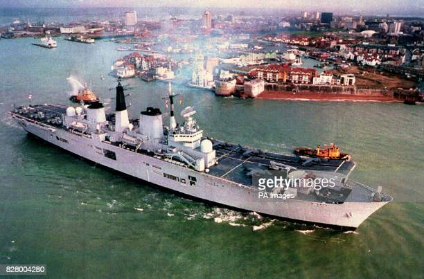 The Aircraft Carrier HMS Ark Royal leaves Portsmouth for the Adriatic to support British troops in Bosnia