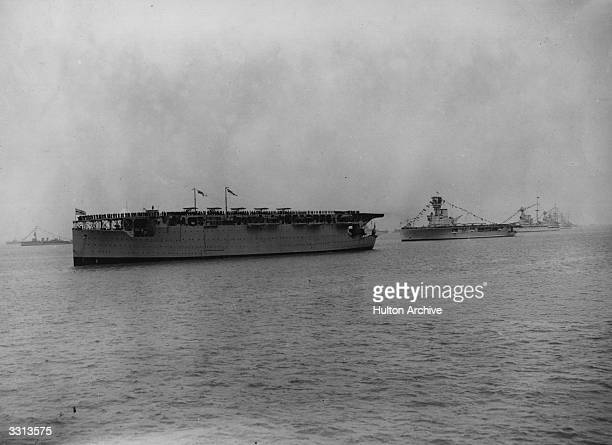 The aircraft carriers HMS Hermes and HMS Argus at the Review of the Fleet at Spithead