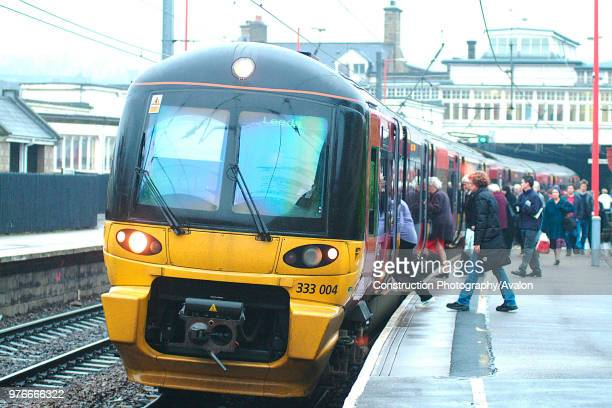 The Aire Valley services from Skipton to Leeds / Bradford such as this Skipton Bradford service at Keighley are operated by 4car EMU sets sponsored...