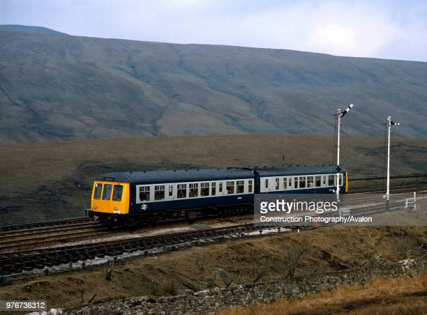 The Airedale Explorer Service IZ31 a special DMU from Whitehaven tor Leeds at Blea Moor on the Settle and Carlisle United Kingdom