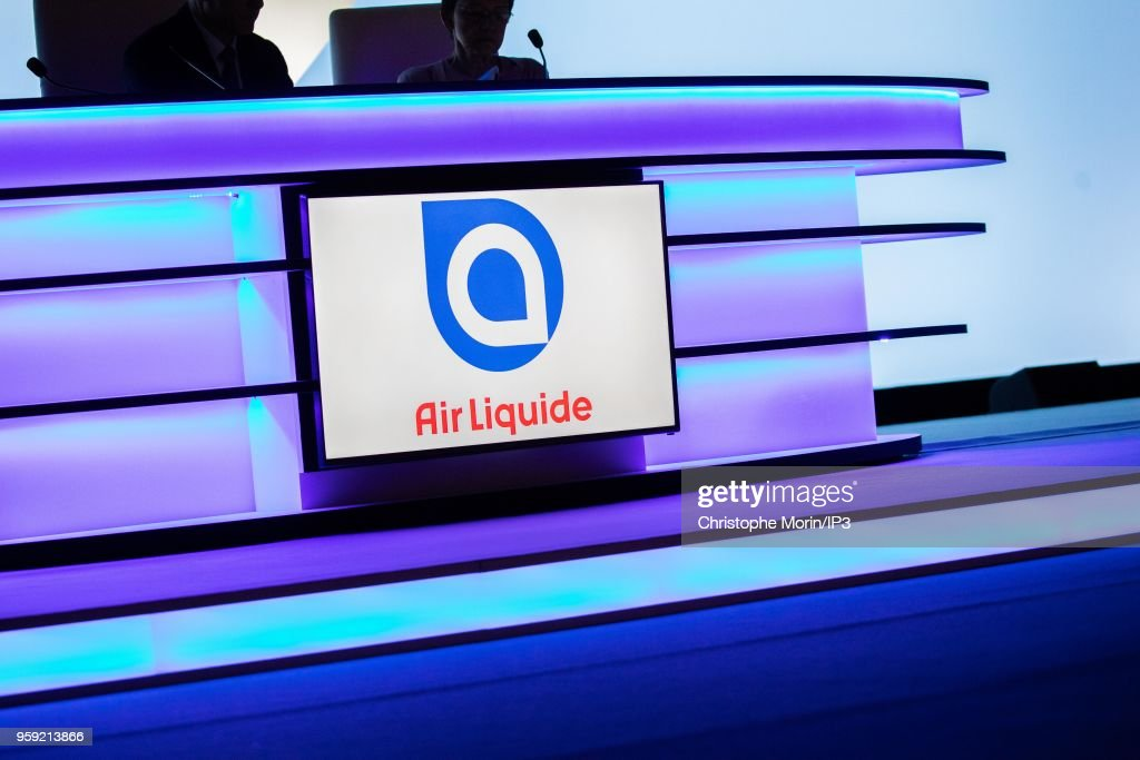 The AirLiquide logo during the Groups Annual General Meeting in the presence of shareholders on May 16, 2018 in Paris, France. The French industrial group specializing in industrial gases reported this week an acceleration in its growth beyond analysts expectations.