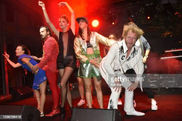 The Airnadette Band Chateau Brutal Moche Pitt Jean Francoise MRodz Scotch Brit Gunther Love and guests perform during the Spritz Plazza Party at the...