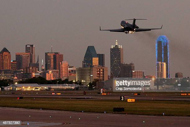 The airplane carrying Texas Health Presybterian Hospital nurse and Ebola patient Nina Pham takes off from Love Field airport October 16 2014 in...