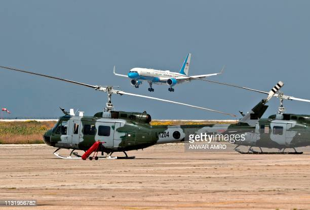 The airplane carrying US Secretary of State Mike Pompeo is pictured while landing in the capital Beirut on March 22 2019 Pompeo's trip comes weeks...