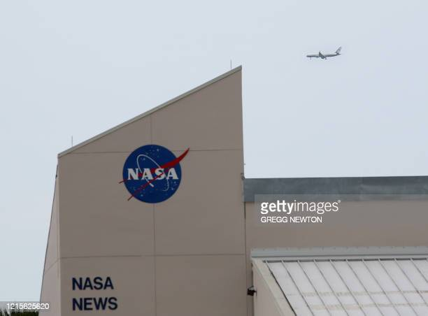 The airplane carrying US Vice President Mike Pence arrives at the Kennedy Space Center in Florida on May 27 2020 Pence and US President Donald...
