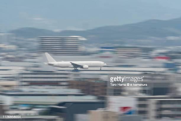 The airplane landing at Fukuoka International Airport (FUK) in Japan
